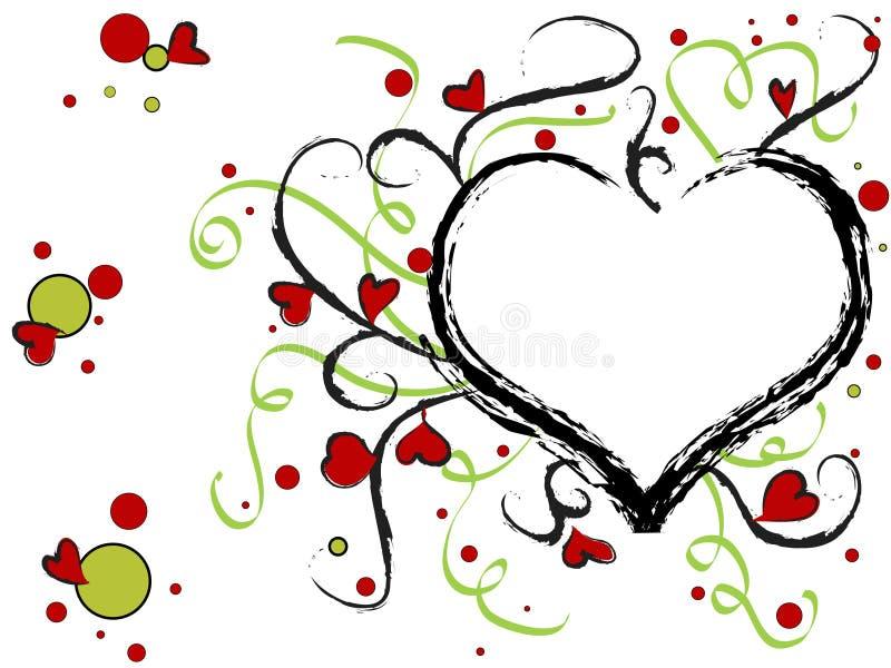Diseño del corazón de la tarjeta del día de San Valentín stock de ilustración