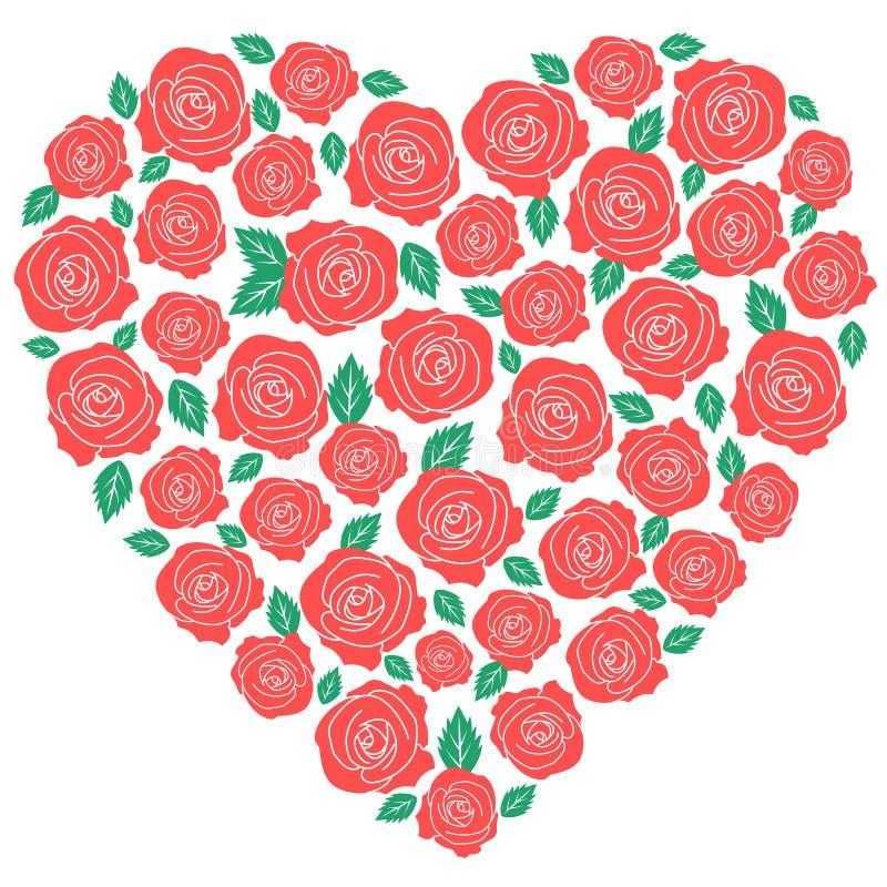 Diseño del corazón de las rosas rojas libre illustration