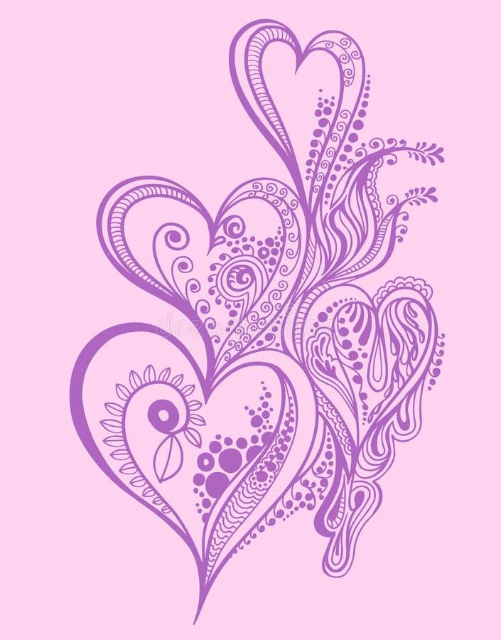 Diseño del corazón del doodle de la alheña stock de ilustración