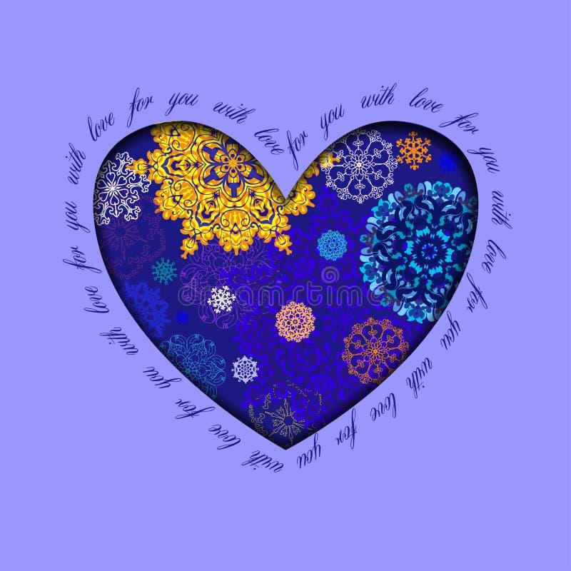 Diseño del corazón del invierno con los copos de nieve azules de oro Tarjeta del amor stock de ilustración
