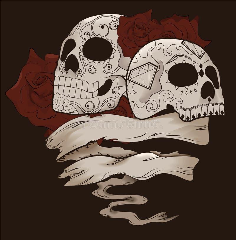 Diseño del cráneo del azúcar con las rosas y la bandera ilustración del vector
