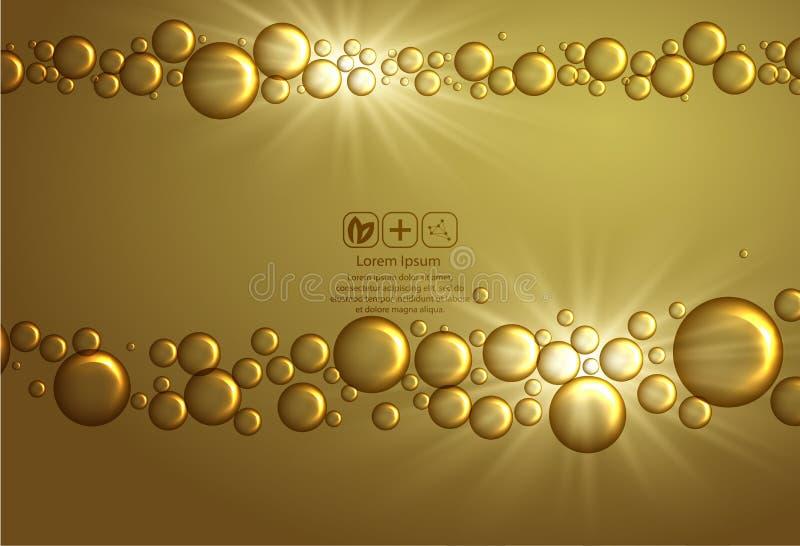 Diseño del cuidado de piel de la belleza sobre el contexto de oro Ilustración del vector Gotita de oro brillante de la esencia La ilustración del vector