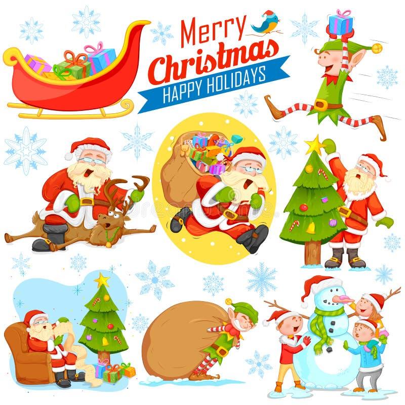 Diseño del día de fiesta de la Feliz Navidad con Santa Calus, el duende y el muñeco de nieve ilustración del vector