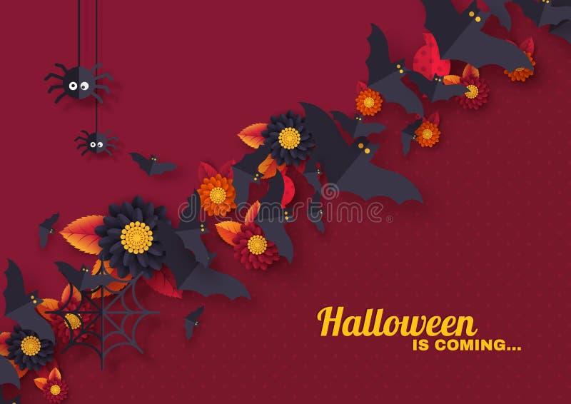 Diseño del día de fiesta de Halloween con los objetos decorativos ilustración del vector