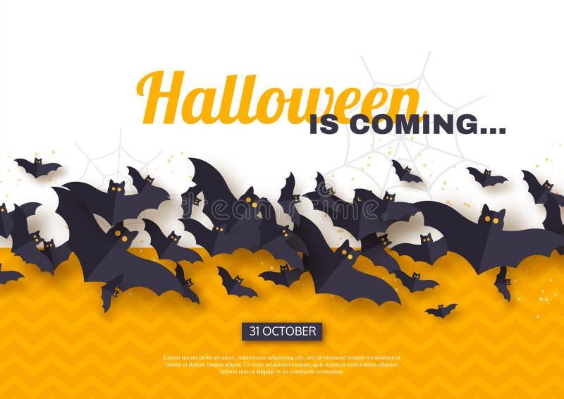 Diseño del día de fiesta de Halloween El papel cortó palos del vuelo del estilo en el fondo amarillo y blanco, texto del saludo,  stock de ilustración