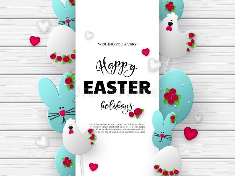 diseño del día de fiesta de Pascua del cur del papel 3d stock de ilustración