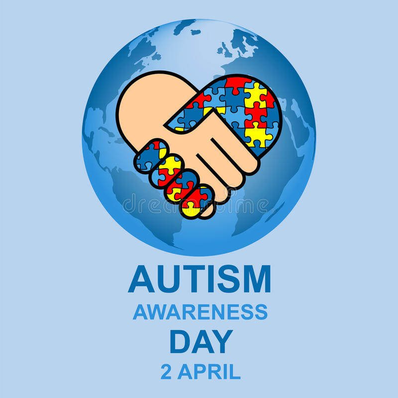 Diseño del día de la conciencia del autismo stock de ilustración