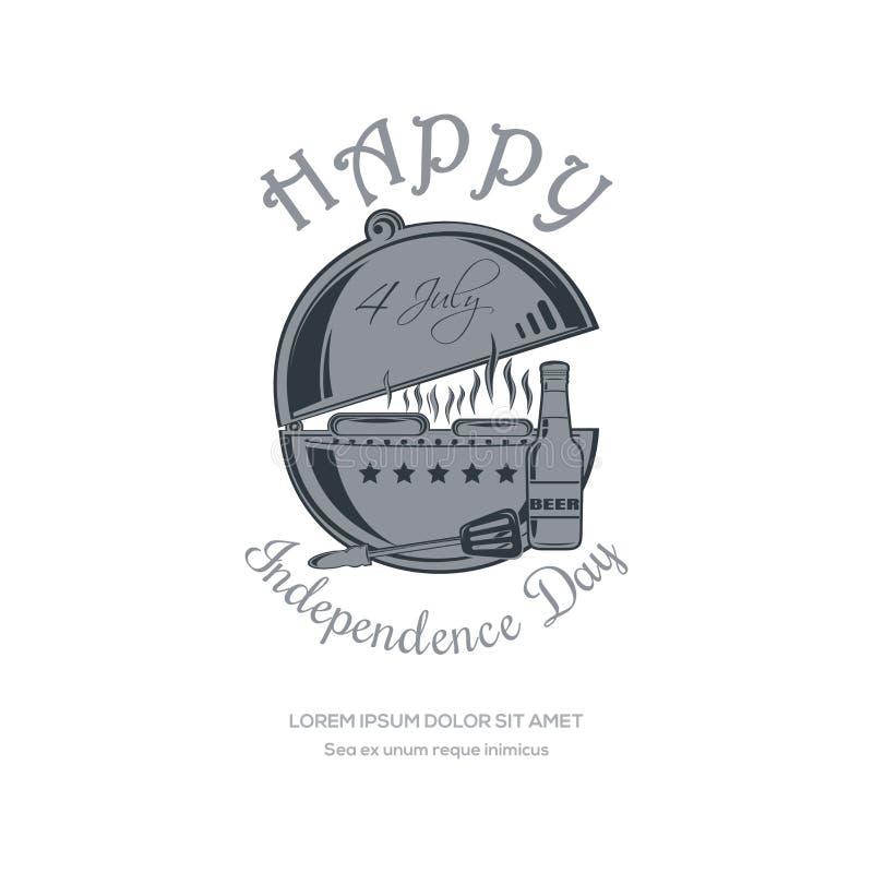 Diseño del Día de la Independencia 4 de julio con la barbacoa ilustración del vector