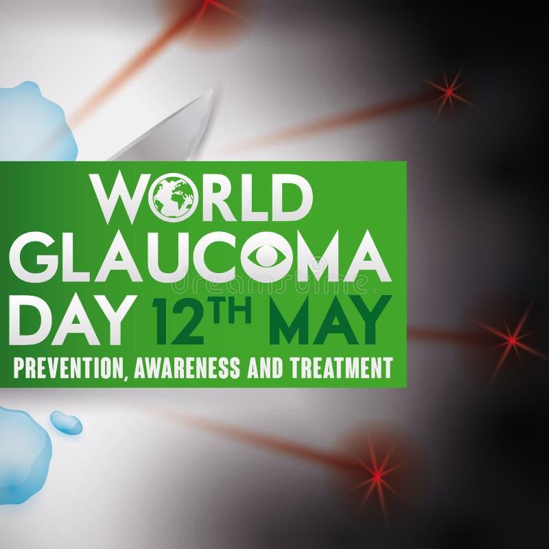 Diseño del día del glaucoma con tratamientos: Descensos de ojo, cirugía y laser, ejemplo del vector stock de ilustración