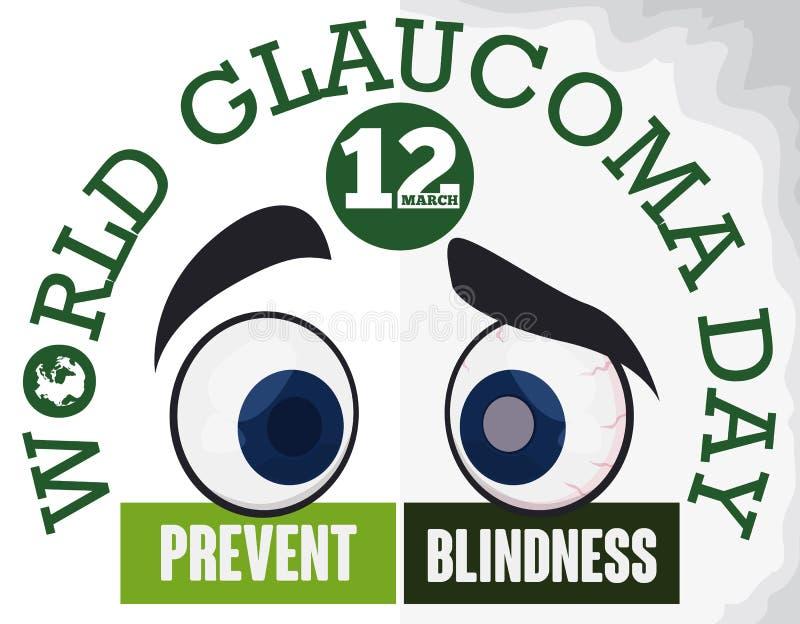 Diseño del día del glaucoma del mundo que previene la ceguera con una comparación del ojo, ejemplo del vector stock de ilustración