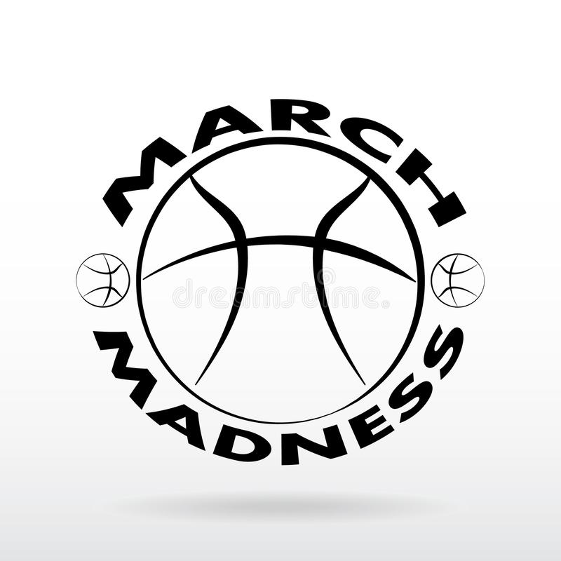 Diseño del deporte del baloncesto de la locura de marzo stock de ilustración