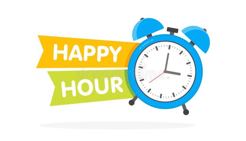 Diseño del despertador de la hora feliz, ejemplo del vector ilustración del vector