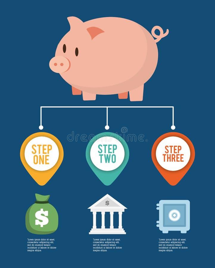 Diseño del dinero de Infographics, ejemplo del vector ilustración del vector