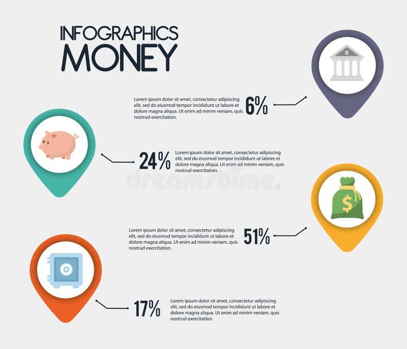 Diseño del dinero de Infographics, ejemplo del vector stock de ilustración