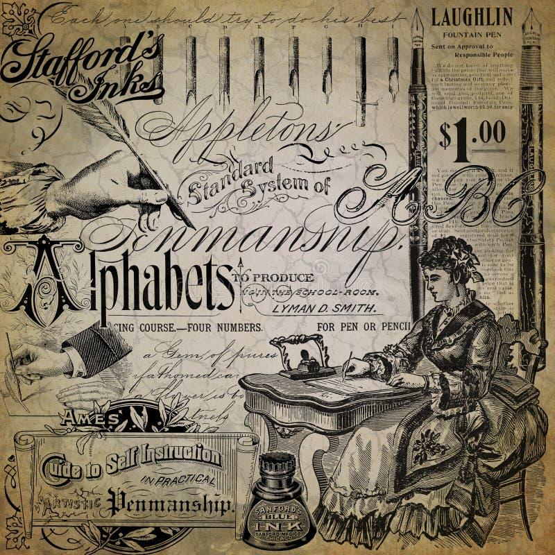 Diseño del documento de información del collage de la caligrafía del vintage - plumas - tinta - alfabeto - cartilla de la escritu fotografía de archivo libre de regalías