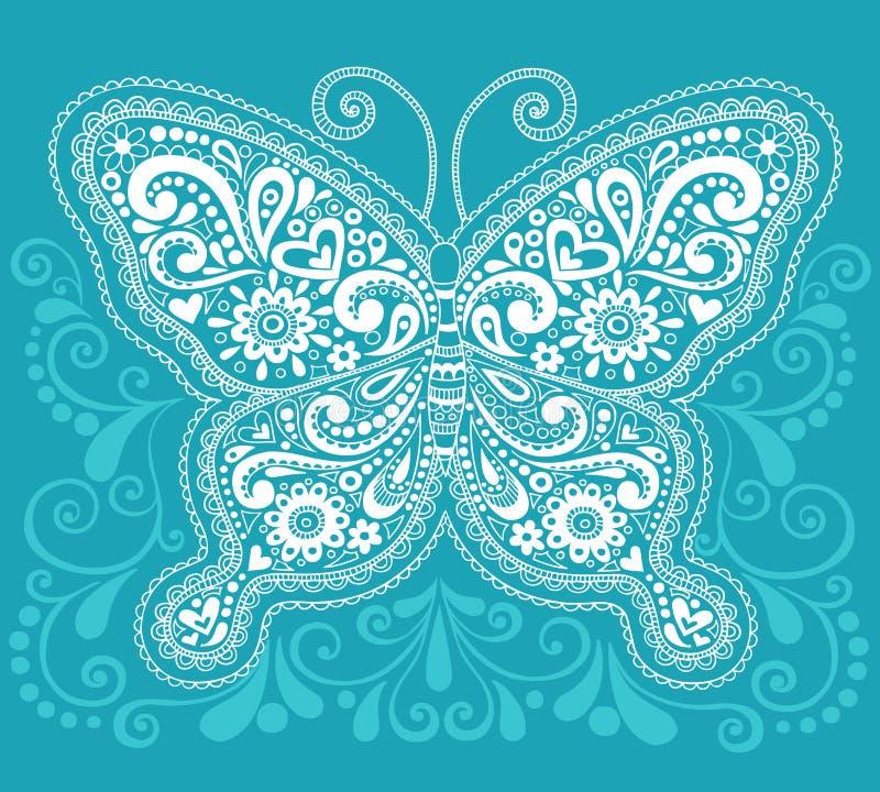 Diseño del Doodle de la mariposa de Mehndi Paisley de la alheña libre illustration