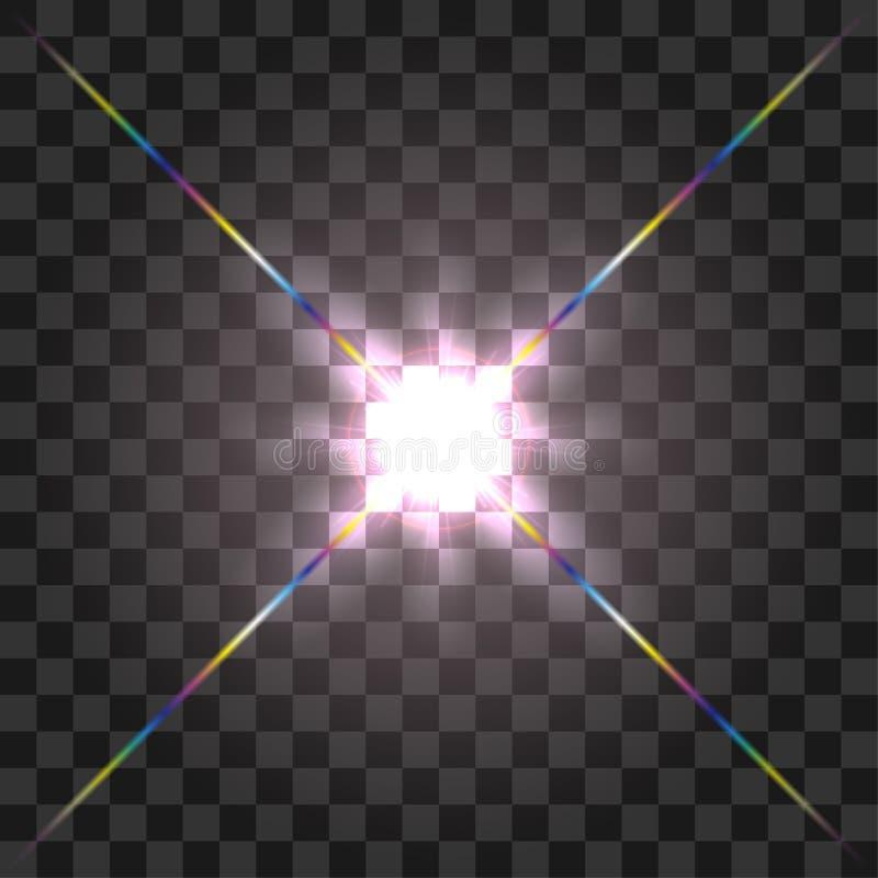 Diseño del efecto luminoso de la llamarada de la lente delantera del vector que brilla intensamente en fondo transparente stock de ilustración