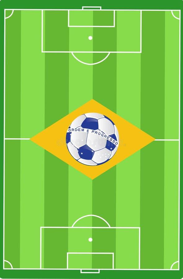 Diseño del ejemplo de la bandera del campo de fútbol del Brasil stock de ilustración