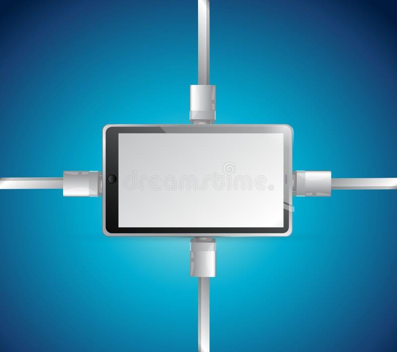 Diseño del ejemplo de la conexión de red de la tableta libre illustration