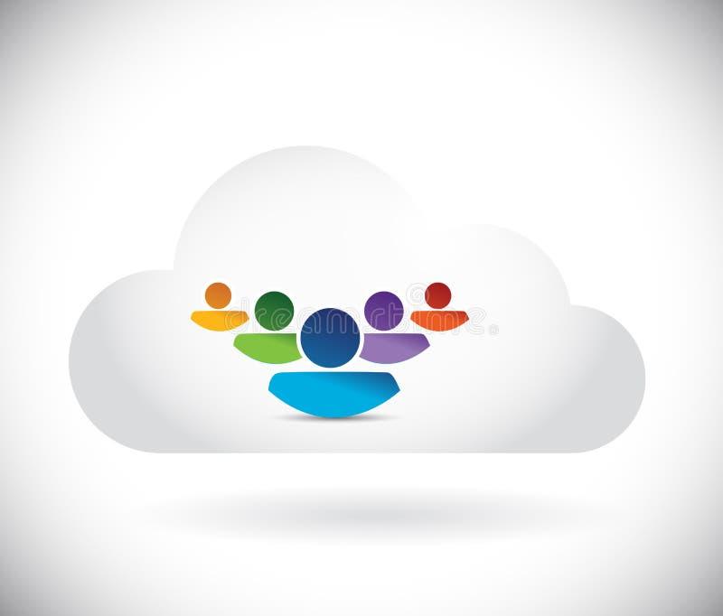 Diseño del ejemplo de la gente de la nube stock de ilustración