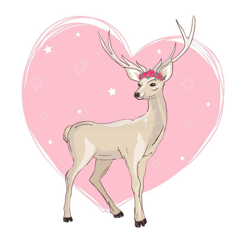 Diseño del ejemplo de la historieta de los ciervos Vector animal del bambi lindo Tarjeta de la Feliz Navidad libre illustration
