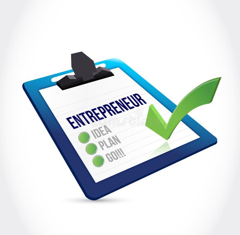 Diseño del ejemplo de la lista de verificación del empresario stock de ilustración
