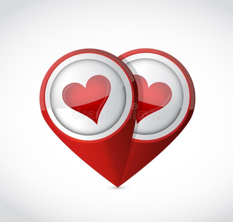 Diseño del ejemplo de la muestra del indicador del amor del hallazgo ilustración del vector