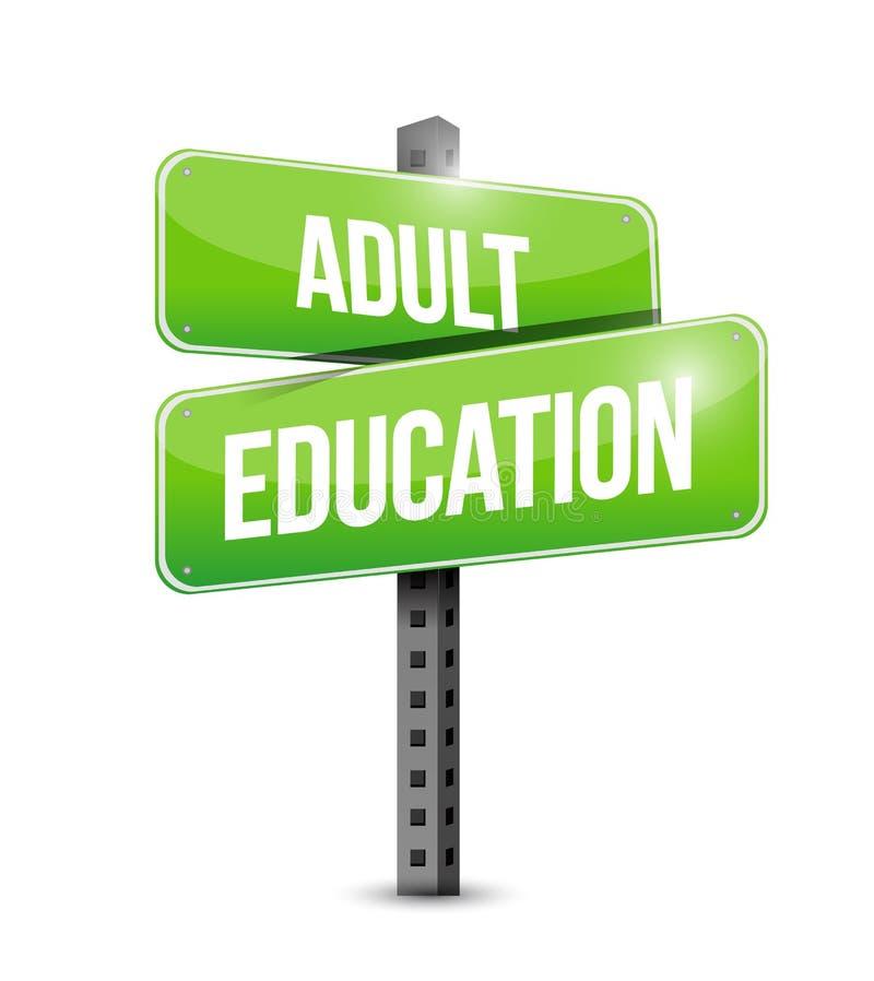 Diseño del ejemplo de la señal de tráfico de la enseñanza para adultos stock de ilustración