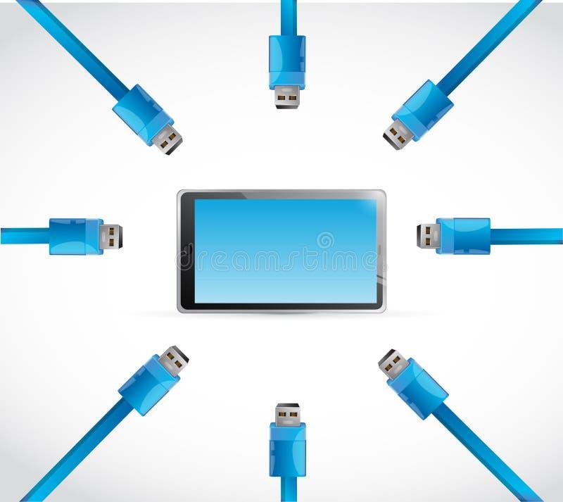 Diseño del ejemplo de la tableta del usb del cable ilustración del vector