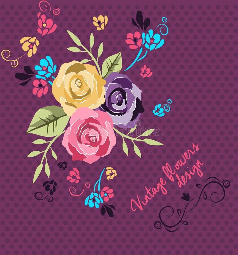 Diseño del ejemplo de las flores del vintage ilustración del vector