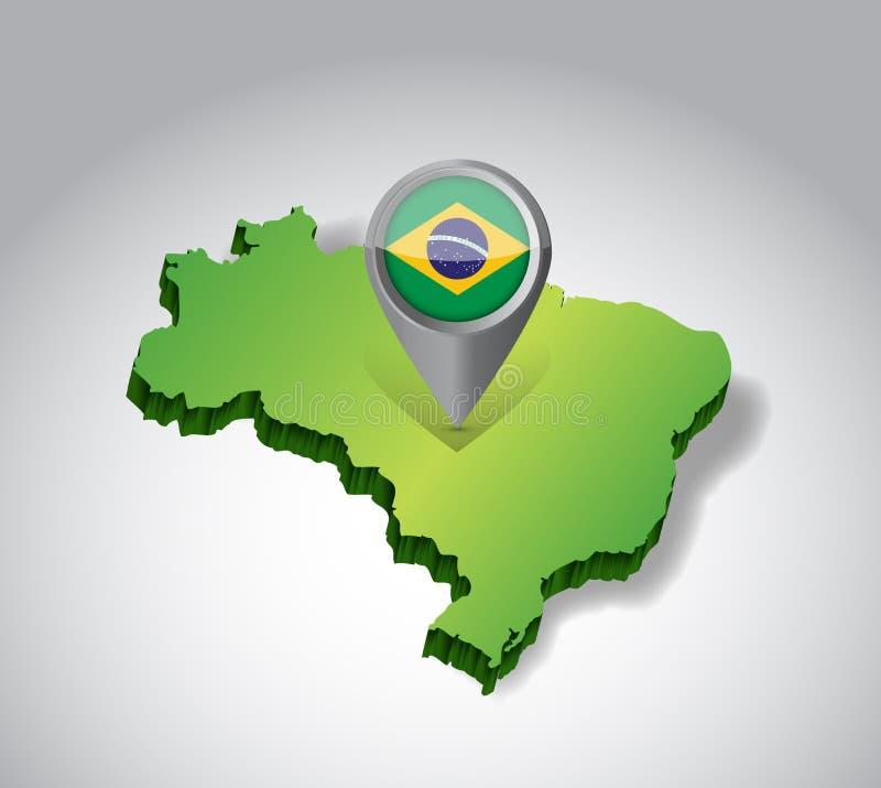 Diseño del ejemplo del mapa y de la bandera del Brasil libre illustration