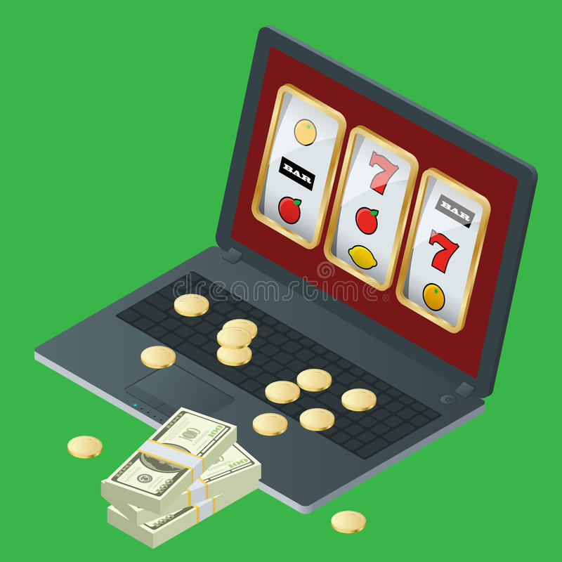Diseño del ejemplo del vector del casino con el póker, naipes, ruleta Símbolos de juego populares de los juegos onlines del casin libre illustration