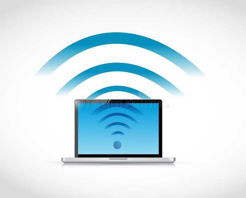 Diseño del ejemplo del wifi de la conexión del ordenador portátil libre illustration