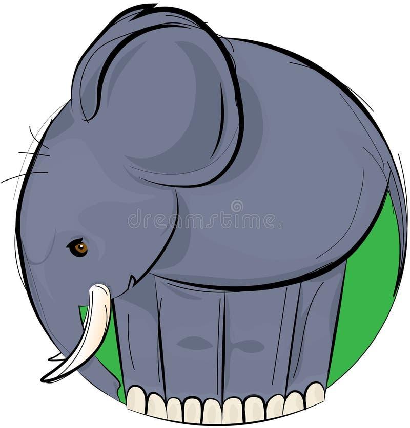 Diseño del ejemplo del vector de elefante gris a mano en el círculo verde aislado en el fondo blanco stock de ilustración