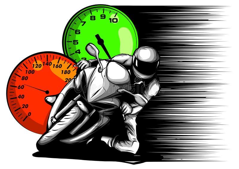 Diseño del ejemplo del vector de la opinión de los jinetes de la carlinga de la motocicleta stock de ilustración