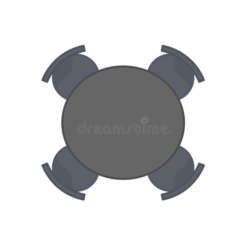Diseño del ejemplo del vector de la opinión de sobremesa El escritorio negro de madera aisló blanco Oficina interior plana vacía  libre illustration