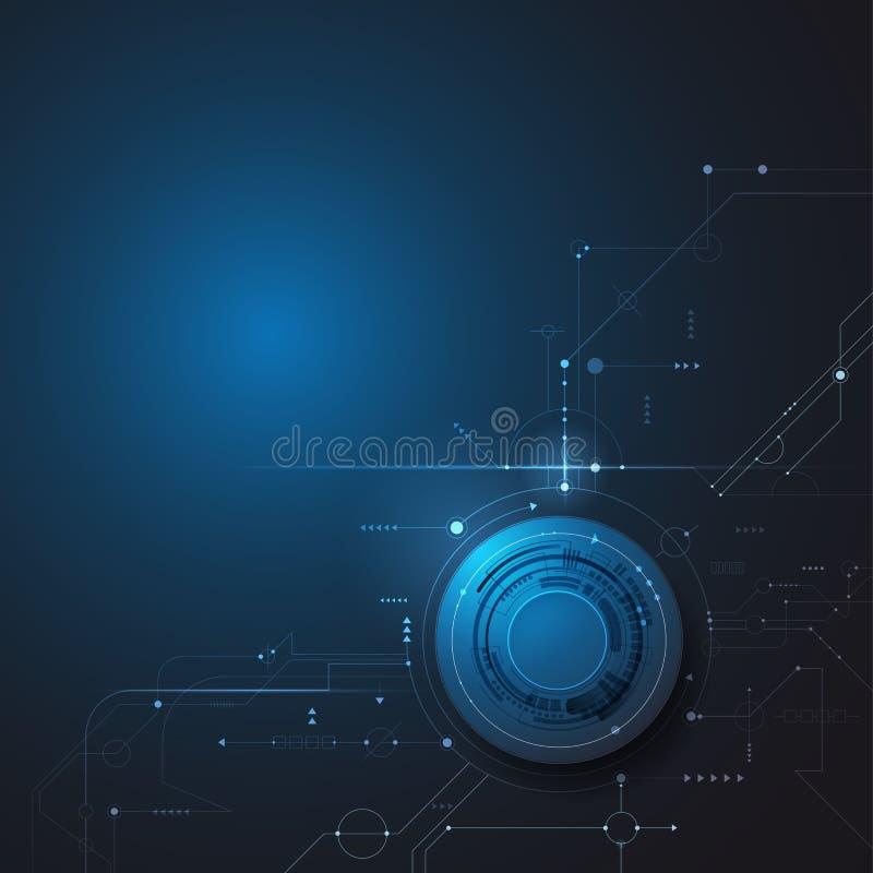 Diseño del ejemplo del vector, globo del ojo digital y línea en placa de circuito Ordenador de alta tecnología, tecnología de la  ilustración del vector