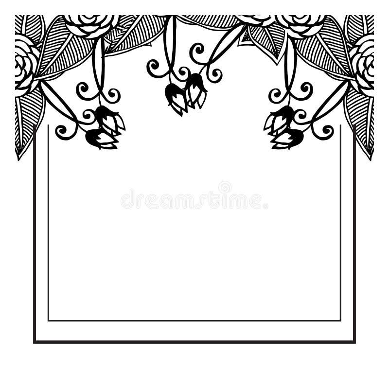 Diseño del elemento de bastidor de la flor, aislado en el fondo blanco, modelo para la boda de la invitación Vector stock de ilustración
