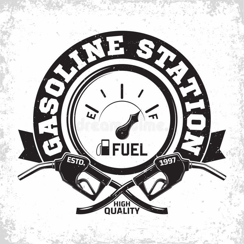 diseño del emblema de la estación de servicio del vintage stock de ilustración