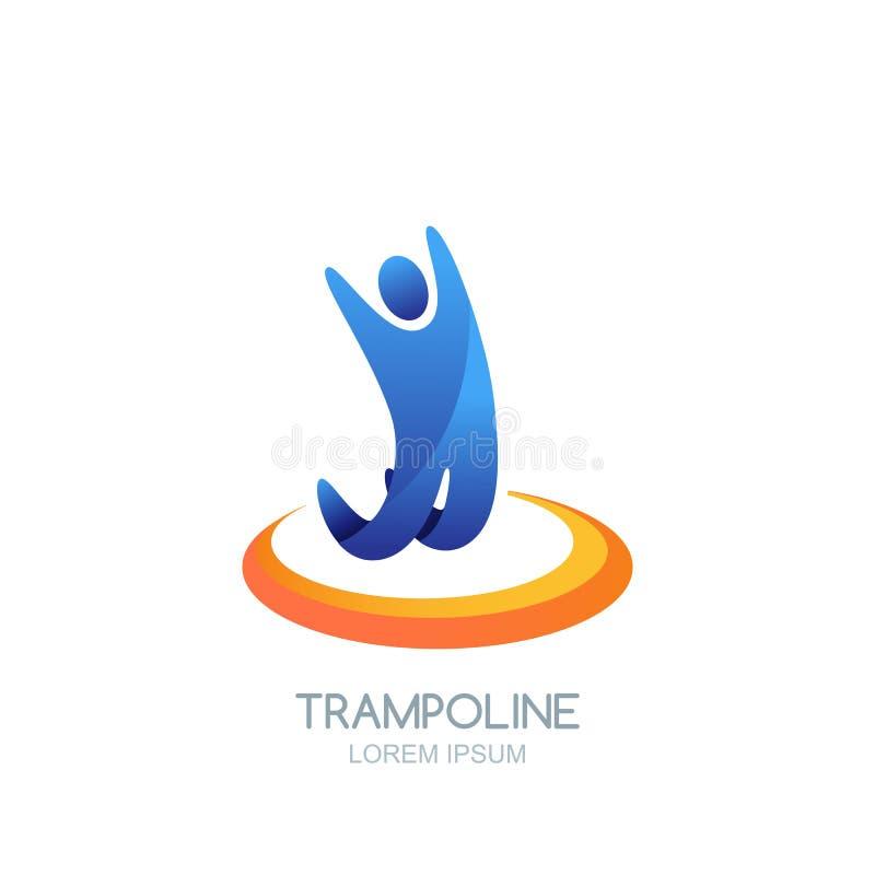 Diseño del emblema del logotipo del deporte del trampolín del vector Hombre o niño de salto en el trampolín Embroma actividad, el stock de ilustración