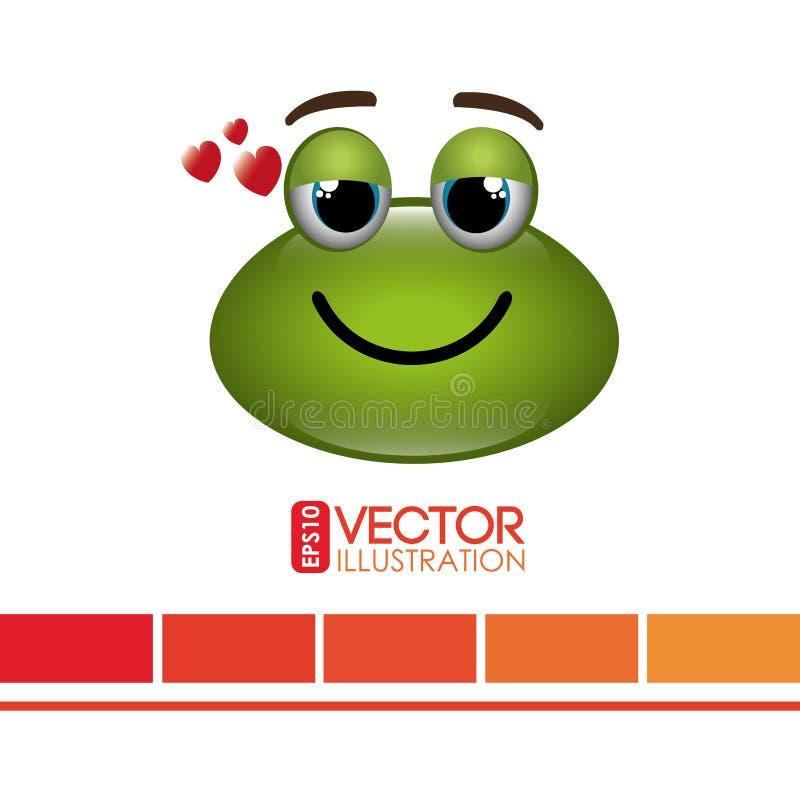 diseño del emoticon de la rana stock de ilustración
