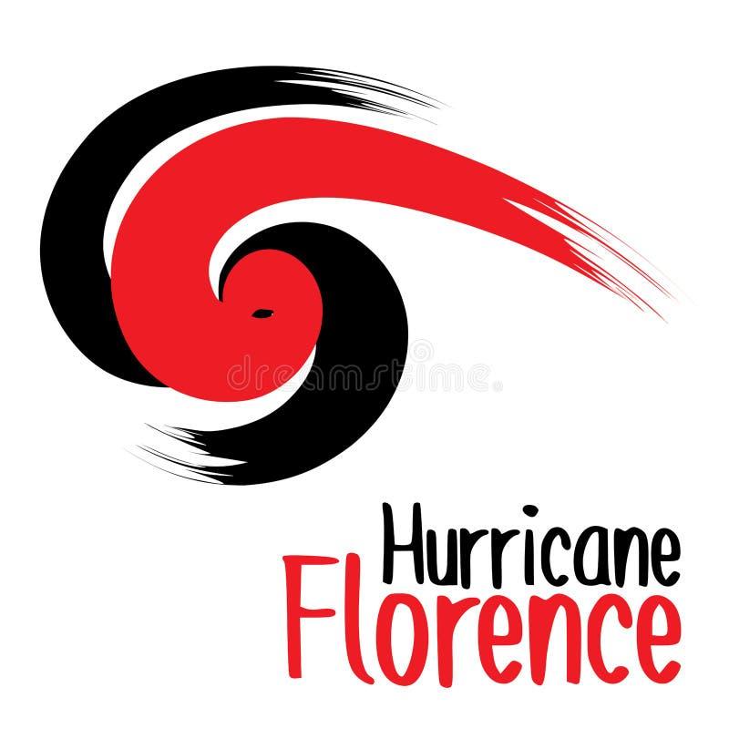 Diseño del estilo del cepillo de huracán Florencia en movimientos rojos y negros intrépidos grandes ilustración del vector