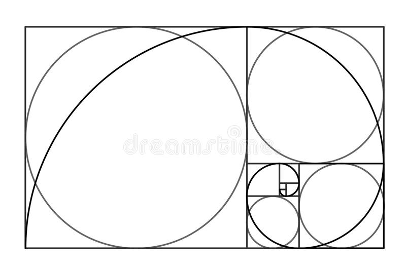 Diseño del estilo de Minimalistic Relación de transformación de oro Dimensiones de una variable geométricas Círculos en la propor ilustración del vector