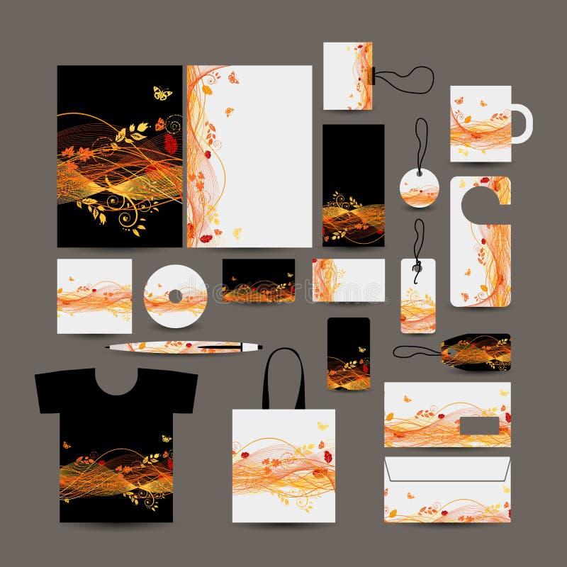 Diseño del estilo del negocio corporativo: carpeta, bolso, labe ilustración del vector