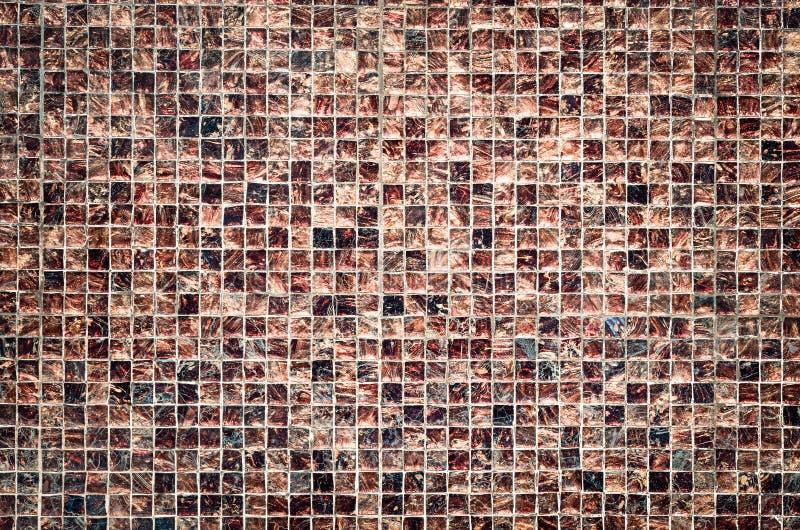Diseño del estilo del vintage de pared marrón de la textura de la teja de mosaico fotos de archivo