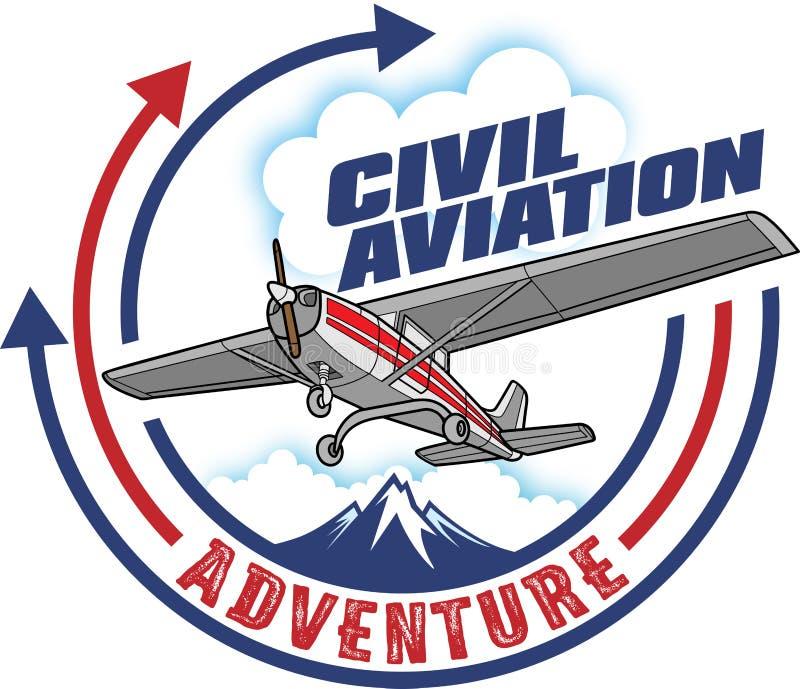Diseño del estilo del sello de la aviación civil stock de ilustración