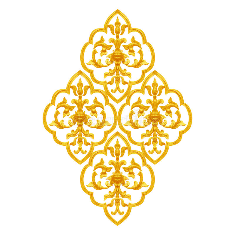 Diseño del estuco del oro de flor tailandesa nativa de la antigüedad del estilo fotos de archivo