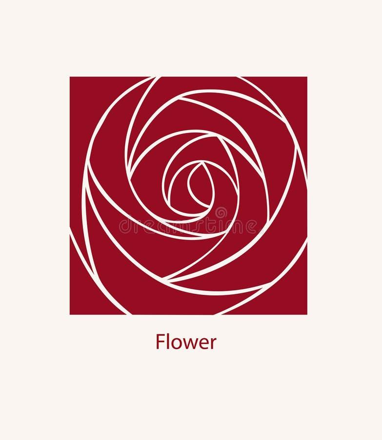 Diseño del extracto de Rose Label Concepto del logotipo de los cosméticos Cuadrado i ilustración del vector