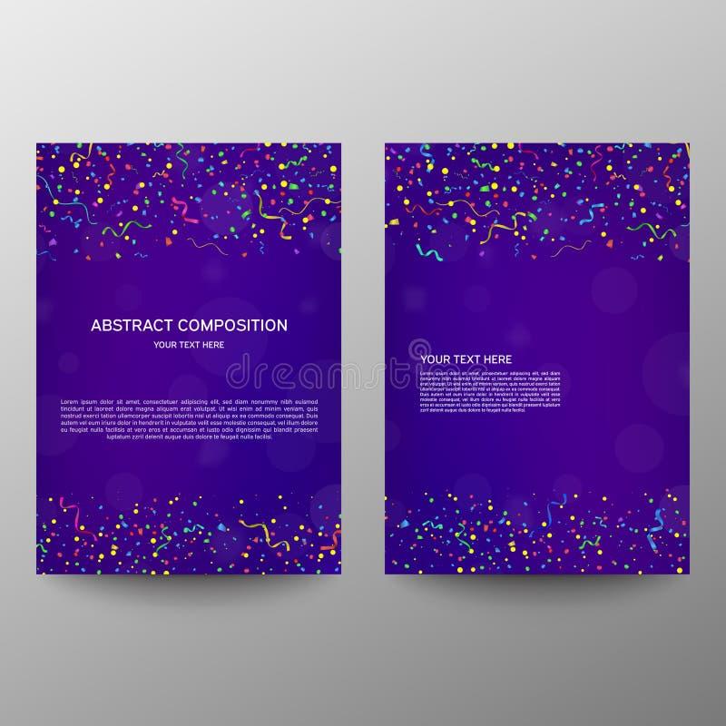 Diseño a4 del folleto bandera de la información Un sistema de la página Página moderna Reborde del anuncio celebración Serpentina ilustración del vector