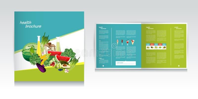 Diseño del folleto de la comida sana Bio verdura y fruta ilustración del vector
